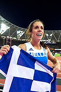 Great Britain, London - 2017 August 06: Ekaterini Stefanidi from Greece celebrates her gold medal in women's pole vault final  during IAAF World Championships London 2017 Day 3 at London Stadium on August 06, 2017 in London, Great Britain.<br /> <br /> Mandatory credit:<br /> Photo by © Adam Nurkiewicz<br /> <br /> Adam Nurkiewicz declares that he has no rights to the image of people at the photographs of his authorship.<br /> <br /> Picture also available in RAW (NEF) or TIFF format on special request.<br /> <br /> Any editorial, commercial or promotional use requires written permission from the author of image.