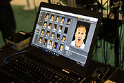 Forest Green Rovers assistant manager, Scott Lindsey has his face scanned for FIFA18 during the Forest Green Rovers Photocall at the New Lawn, Forest Green, United Kingdom on 31 July 2017. Photo by Shane Healey.