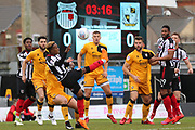 Grimsby Town midfielder Siriki Dembele (27) shoots at goal  during the EFL Sky Bet League 2 match between Grimsby Town FC and Port Vale at Blundell Park, Grimsby, United Kingdom on 10 March 2018. Picture by Mick Atkins.