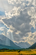 North America, Canada, Canadian, Alberta,Rocky Mountains, WatertonLakes, National Park, UNESCO,World Heritage,  late afternoon clouds along front range