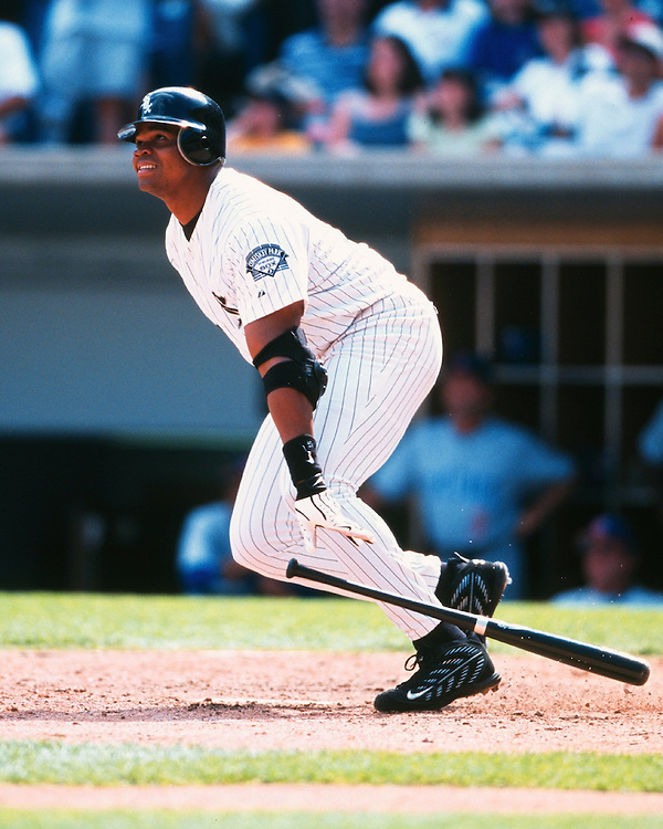CHICAGO - 2000:  Frank Thomas of the Chicago White Sox bats during an MLB game at Comiskey Park in Chicago, Illinois.  Thomas played for the White Sox from 1990-2005.  (Photo by Ron Vesely)