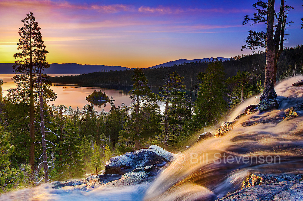 An image of sunrise at Eagle Falls, Emerald Bay, Lake Tahoe
