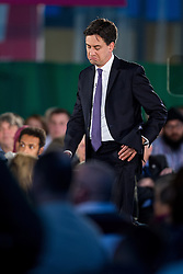 © Licensed to London News Pictures . 12/05/2014 . Manchester , UK . The leader of the Labour Party , ED MILIBAND , delivers a speech on health at the National Squash Centre in Manchester today (Monday 12th May 2014) . Photo credit : Joel Goodman/LNP