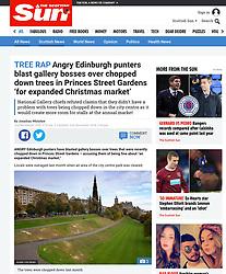 The Scottish Sun; Princes street Gardens in Edinburgh - tree felling
