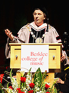 Roger H. Brown, Berklee president while introduces the honorary degree of doctor of music to to Motown legend Smokey Robinson, singer Linda Ronstadt, Dominican singer/songwriter Juan Luis Guerra, and producer/sound engineer George Massenburg.