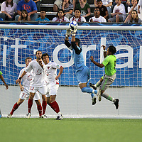 Orlando City goalkeeper Miguel Gallardo makes a save during a United Soccer League Pro soccer match between Puerto Rico United and the Orlando City Lions at the Florida Citrus Bowl on April 22, 2011 in Orlando, Florida.  (AP Photo/Alex Menendez)