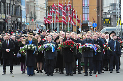 November 18, 2018 - Riga, Latvia - Latvian President RAIMONDS VEJONIS (2nd R, Front) and foreign guests lay flowers at the Monument of Freedom during Latvia's centennial celebrations of independence. Latvia celebrated its 100th Independence Day on Sunday with concerts, church services, a military parade and numerous other festive events not only in the capital city Riga but across the country. The events were held to mark the centenary of the proclamation of the Republic of Latvia on Nov. 18, 1918. (Credit Image: © Janis/Xinhua via ZUMA Wire)