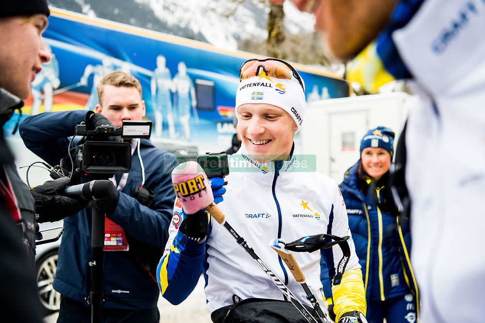January 2, 2018 - Oberstdorf, GERMANY - 180102 Jens Burman of Sweden pretends to be a journalist interviewing Daniel Rickardsson of Sweden with the microphone hood of Sportbladet on a skiing pole ahead of a training session during Tour de Ski on January 2, 2018 in Oberstdorf..Photo: Jon Olav Nesvold / BILDBYRN / kod JE / 160117 (Credit Image: © Jon Olav Nesvold/Bildbyran via ZUMA Wire)