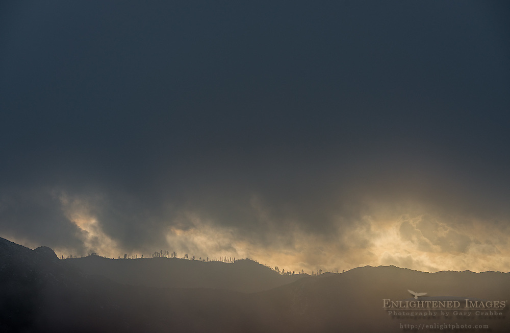 Dark storm clouds over the Los Padres National Forest, Monterey County, California