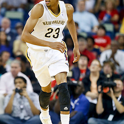 Oct 30, 2013; New Orleans, LA, USA; New Orleans Pelicans power forward Anthony Davis (23) against the Indiana Pacers during the first half of a game at New Orleans Arena. Mandatory Credit: Derick E. Hingle-USA TODAY Sports