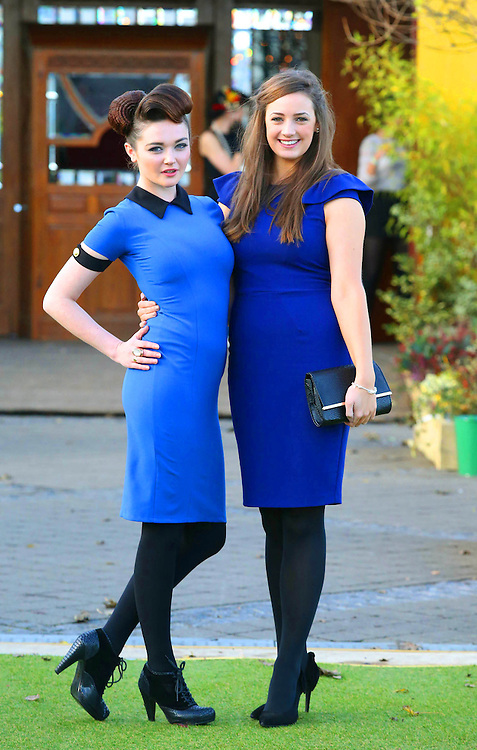 29/10/2012. Free To Use image. Wexford Spiegeltent Festival on Wexford Quay, Wexford's Loose Women showcase How to LOOK the Best at Everything!. Pictured are Flavia Woulfe, Wexford and Laura Doyle, Enniscorthy .Photo Patrick Browne