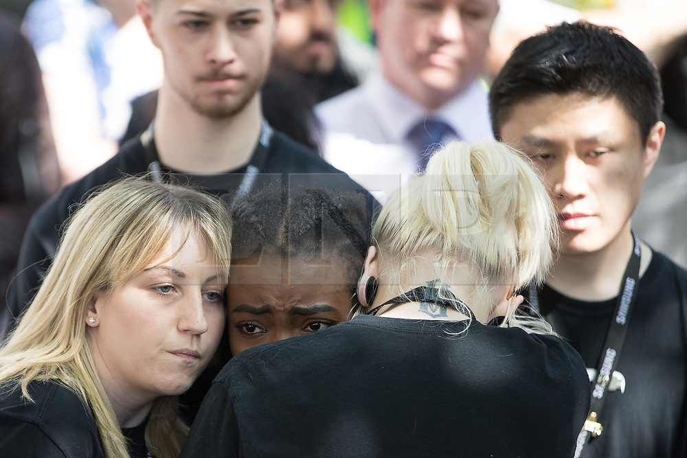 © Licensed to London News Pictures . 25/05/2017 . Manchester , UK . A minute's silence is held in St Ann's Square in Manchester City Centre , following a terrorist attack at an Ariana Grande concert at Manchester Arena that killed twenty two people . Photo credit: Joel Goodman/LNP