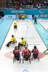 Sonja Gaudet, Dennis Thiessen, Ina Forrest, Wheelchair Curling Semi Finals at the 2014 Sochi Winter Paralympic Games, Russia