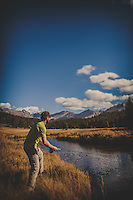 Christina and Michael Man fly fishing in the Wind River Range of Wyoming.