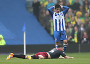Joao Carlos Teixeira, Brighton midfielder goes close during the Sky Bet Championship match between Brighton and Hove Albion and Norwich City at the American Express Community Stadium, Brighton and Hove, England on 3 April 2015.