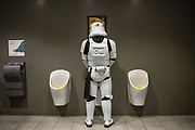 UNITED KINGDOM, London: 25 May 2019 <br /> A Star Wars Stormtrooper takes a break at the London ExCeL during the MCM London Comic Con earlier today. Thousands of cosplay enthusiasts will come to the ExCeL Centre this weekend to enjoy the convention.