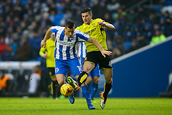 John Mousinho of Burton Albion tackles Tomer Hemed of Brighton & Hove Albion - Mandatory by-line: Jason Brown/JMP - 11/02/2017 - FOOTBALL - Amex Stadium - Brighton, England - Brighton and Hove Albion v Burton Albion - Sky Bet Championship