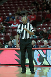 05 January 2014:  Referee Roland Simmons during an NCAA  mens basketball game between the Salukis of Southern Illinois and the Illinois State Redbirds  in Redbird Arena, Normal IL.  Final score ISU 66, SIU 48