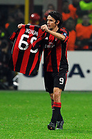 "Esultanza dopo il gol di Filippo INZAGHI che mostra la maglia con il numero di gol<br /> Filippo INZAGHI celebrates scoring showing a shirt with a number of his goals in Europe Competitions<br /> Milano 3/11/2010 Stadio ""San Siro / Giuseppe Meazza""<br /> Champions league 2010/2011<br /> Milan Vs Real Madrid<br /> Foto Andrea Staccioli Insidefoto"