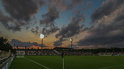 A general overall view of a sunset at a game between the North Carolina Courage and Manchester City during an International Champions Cup women's soccer game, Thurday, Aug. 15, 2019, in Cary, NC. The North Carolina Courage defeated Manchester City Women 2-1.  (Brian Villanueva/Image of Sport)