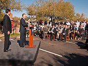 06 DECEMBER 2011 - PARADISE VALLEY, AZ: Former Vice President Dan Quayle endorses Republic Presidential hopeful Mitt Romney at the Hermosa Inn in Paradise Valley Tuesday.    PHOTO BY JACK KURTZ