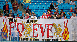CHARLOTTE, USA - Friday, August 1, 2014: Liverpool supporters with a 'Forever Justice for the 96' banner during a training session at the Bank of America Stadium on day twelve of the club's USA Tour. (Pic by David Rawcliffe/Propaganda)
