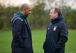 WREXHAM, WALES - Wednesday, October 30, 2019: Republic of Ireland's head coach Paul Osam (L) and Wales' head coach Richard Williams chat after the 2019 Victory Shield match between Wales and Republic of Ireland at Colliers Park. (Pic by David Rawcliffe/Propaganda)