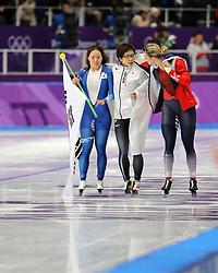 February 18, 2018 - Gangneung, South Korea -  (L-R) Silver medal winner LEE SANG-HWA of Korea, Gold medal winner NAO KODAIRA, right, of Japan, and Bronze medal winner KAROLINA ERBANOVA of Czech Republic after Speed Skating: Ladies' 500m at Gangneung Oval at the 2018 Pyeongchang Winter Olympic Games. (Credit Image: © Scott Mc Kiernan via ZUMA Wire)
