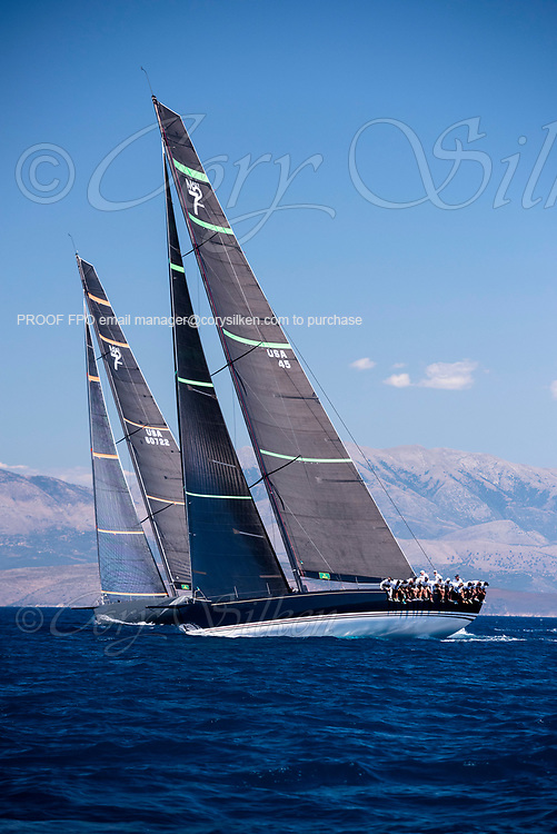 Bella Mente and Proteus sailing in the  Corfu Challenge, day five.