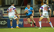 Lama Tasi of Salford Red Devils hits the ball up during the Betfred Super League match at Belle Vue, Wakefield<br /> Picture by Richard Land/Focus Images Ltd +44 7713 507003<br /> 09/02/2018