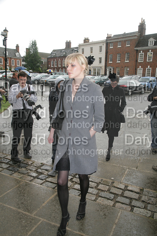 Sophie Dahl, Funeral for Isabella Blow. Gloucester Cathedral. 15 May 2007.  -DO NOT ARCHIVE-© Copyright Photograph by Dafydd Jones. 248 Clapham Rd. London SW9 0PZ. Tel 0207 820 0771. www.dafjones.com.