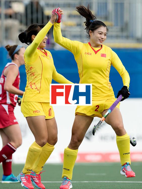 AUCKLAND - Sentinel Hockey World League final women<br /> Match id: 10309<br /> 19 USA v CHN (Losing Q/Finalists Match)<br /> Foto: Jing Yong  and Bingfeng Gu celebrating goals<br /> WORLDSPORTPICS COPYRIGHT FRANK UIJLENBROEK