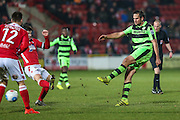 Forest Green Rovers Darren Carter(12) shoots at goal misses the target during the Vanarama National League match between Wrexham FC and Forest Green Rovers at the Racecourse Ground, Wrexham, United Kingdom on 26 November 2016. Photo by Shane Healey.