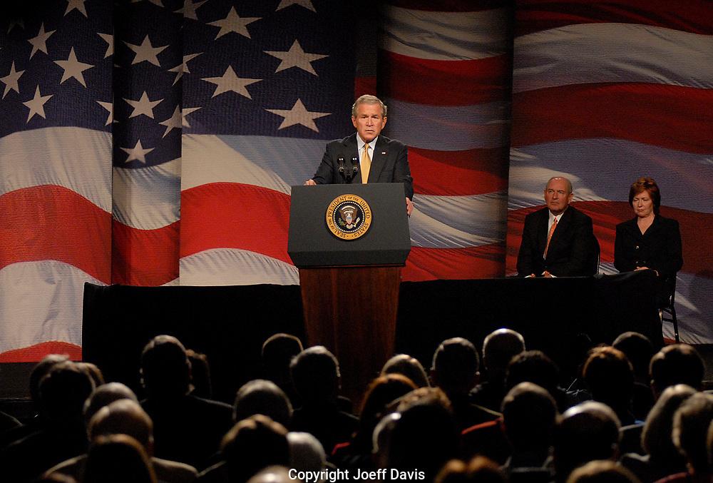 ATLANTA, GA - September 7, 2006:  President George W. Bush discusses progress in the Global War on Terror at the Cobb Galleria Centre in Atlanta.