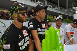 29.07.2014, Klagenfurt, Strandbad, AUT, A1 Beachvolleyball Grand Slam 2014, im Bild Lorenz Petutschnig 1 AUT, Tobias Winter 2 AUT , Robin Seidl 1 AUT / Alexander 'XNADI' Huber 2 AUT // during the A1 Beachvolleyball Grand Slam at the Strandbad Klagenfurt, Austria on 2014/07/29. EXPA Pictures © 2014, EXPA Pictures © 2014, PhotoCredit: EXPA/ Mag. Gert Steinthaler
