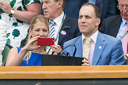 © Licensed to London News Pictures. 04/07/2018. London, UK. Lady Gabriella Windsor and Lord Fredrick Windsor watch centre court tennis at the Wimbledon Tennis Championships 2018, Day 3. Photo credit: Ray Tang/LNP