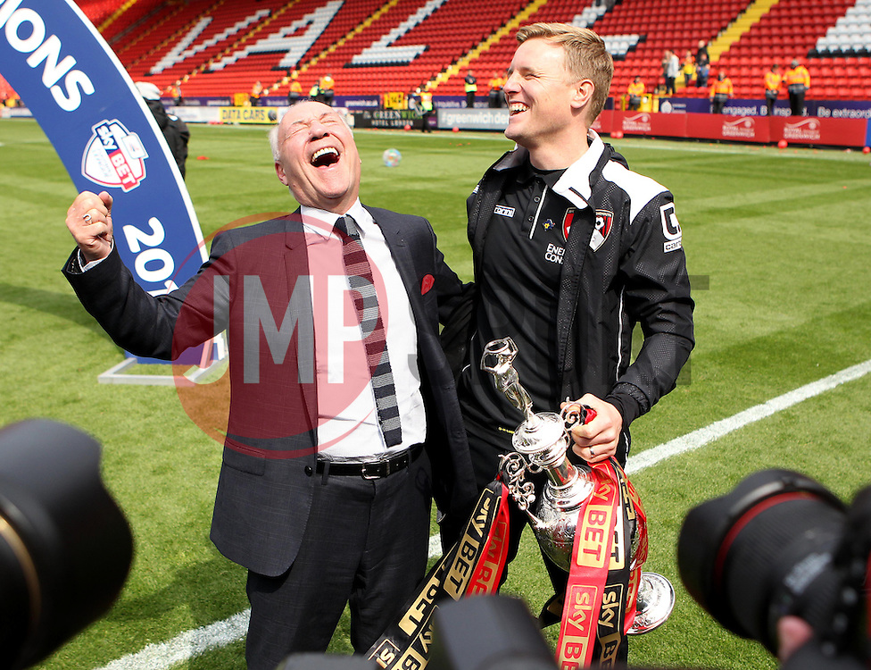 AFC Bournemouth Chairman Jeff Mostyn and Bournemouth Manager, Eddie Howe celebrate with the Sky Bet Championship trophy - Photo mandatory by-line: Robbie Stephenson/JMP - Mobile: 07966 386802 - 02/05/2015 - SPORT - Football - Charlton - The Valley - Charlton v AFC Bournemouth - Sky Bet Championsip