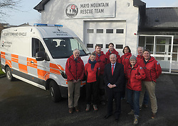 Pictured are some of the volunteers of Mayo Mountin Rescue who were delighted to have Minister for Rural and Community Development Michael Ring T.D. attend launch the team's new Mobile Incident Command Vehicle on Saturday last January 27th at the MMRT Headquarters, Pinewoods, Westport.Pictured are some of the volunteers of Mayo Mountin Rescue volunteers.<br />Pic Conor McKeown<br />Repro Free No Charge