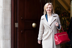 © Licensed to London News Pictures. 02/03/2020. London, UK. Secretary of State for International Trade Liz Truss departs Four Millbank after appearing on LBC Radio. Photo credit: George Cracknell Wright/LNP
