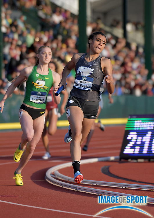 Jun 7, 2018; Eugene, OR, USA; Sydney McLaughlin runs the second leg on the Kentucky women's 4 x 400m relay that placed second in 3:29.44 to advance to the final during the NCAA Track and Field championships at Hayward Field.