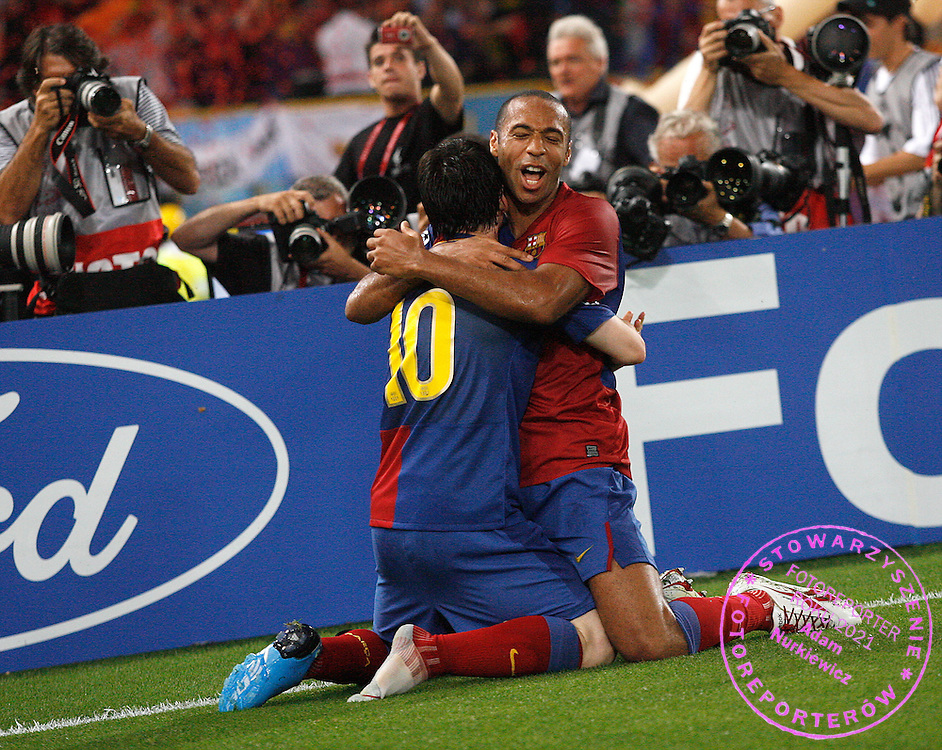 ROME 27/05/2009.Uefa Champions League - Final.Manchester United v Fc Barcelona.Lionel Messi with team mate Thierry Henry celebrate a goal for Barcelona ..Fot. Piotr Hawalej / WROFOTO