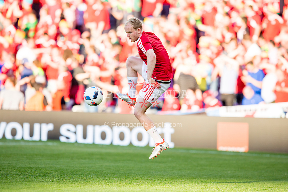 TOULOUSE, FRANCE - Monday, June 20, 2016: Wales' Jonathan Williams during the pre-match warm up ahead of the final Group B UEFA Euro 2016 Championship match against Russia at Stadium de Toulouse. (Pic by Paul Greenwood/Propaganda)
