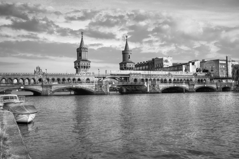 Black and white photo of the river Spree in Berlin Germany near the East Berlin Wall