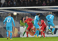 Thu., Feb. 14, 2013, Russia, St. Petersburg. .Liverpool's Jamie Carragher, center, against  Zenit St. Petersburg in the UEFA Europa League's last 32 match..Kommersant Photo/Alexander Petrosyan