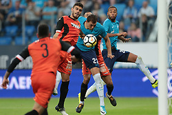 August 3, 2017 - Saint Petersburg, Russia - Artem Dzyuba (C) of FC Zenit Saint Petersburg vie for the ball during the UEFA Europa League match, Third Qualifying Round, 2nd Leg between FC Zenit St. Petersburg and FC Bnei Yehuda at Saint Petersburg Stadium on August 03, 2017 in St. Petersburg, Russia. (Credit Image: © Igor Russak/NurPhoto via ZUMA Press)