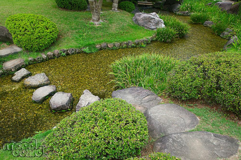 Japan Himeji Himeji Koko-en Gardens stream