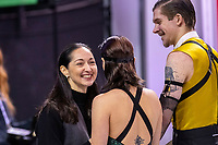 KELOWNA, BC - OCTOBER 25: Russian ice dancers Betina Popova and Sergey Mozgov talk with their coach prior to the rhythm dance at Skate Canada International held at Prospera Place on October 25, 2019 in Kelowna, Canada. (Photo by Marissa Baecker/Shoot the Breeze)