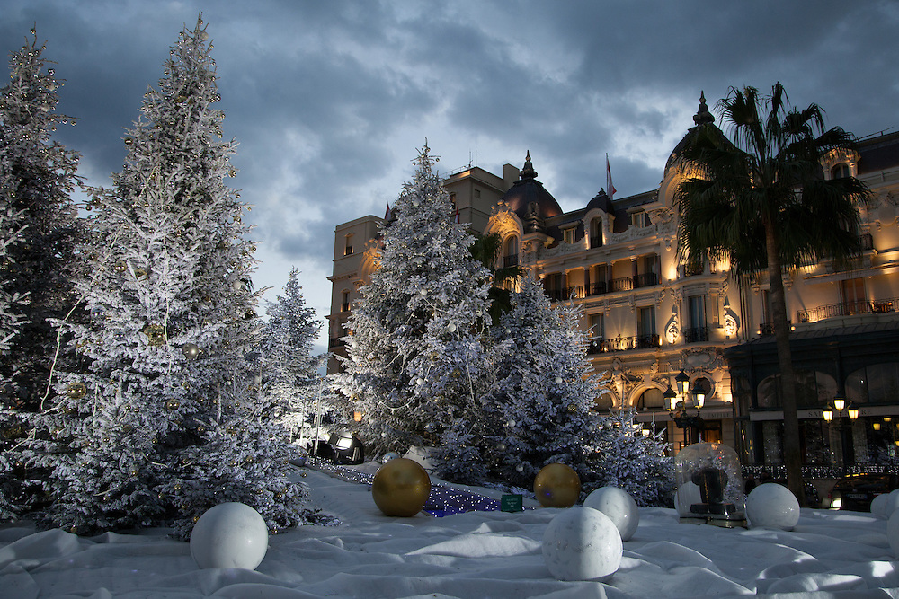Christmas trees decorate the square in front of the Hotel de Paris, Monte Carlo, Monaco