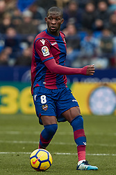 January 14, 2018 - Valencia, Valencia, Spain - Lerma of Levante UD with the ball during the La Liga game between Levante UD and Real Club Celta de Vigo at Ciutat de Valencia stadium on January 14, 2018 in Valencia, Spain  (Credit Image: © David Aliaga/NurPhoto via ZUMA Press)