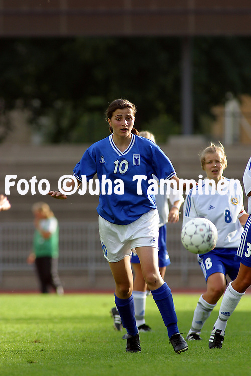 24.07.2002, Urheilupuisto, Turku, Finland..Open Nordic Tournament for Women Under-21,.Finland v Greece..Natalia Chatzigianidou - Greece.©Juha Tamminen
